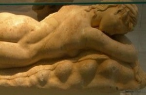 maenad dreaming on lion skin